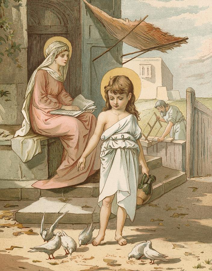 Jesus As A Boy Playing With Doves Painting