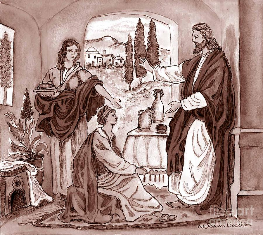 Jesus At The House Of Mary And Martha Drawing