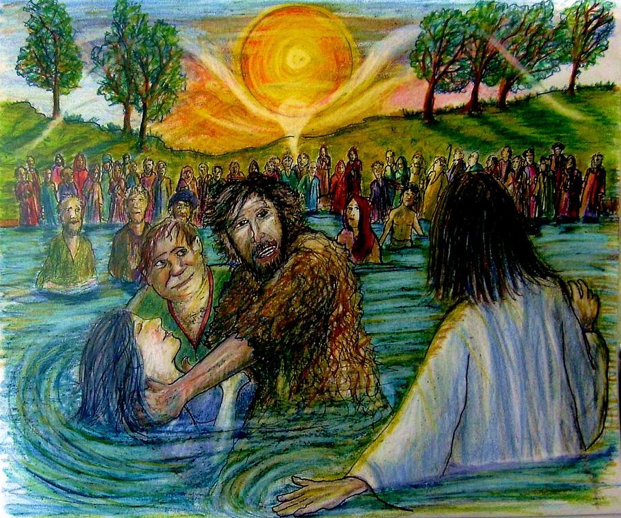 Jesus Came To John The Baptist  Painting  - Jesus Came To John The Baptist  Fine Art Print