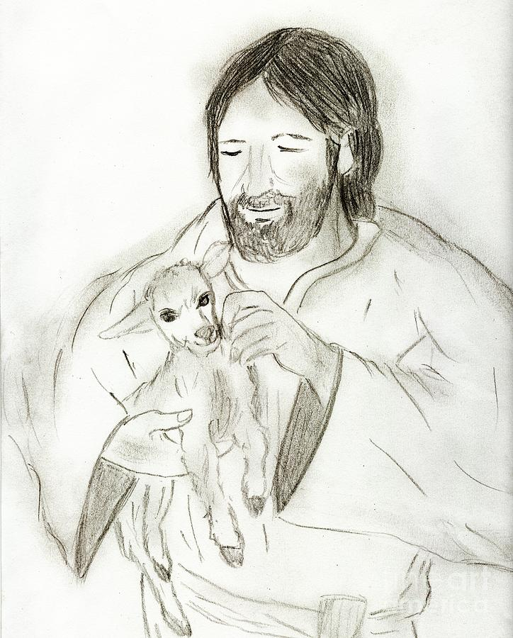 Jesus Holding Lamb Drawing