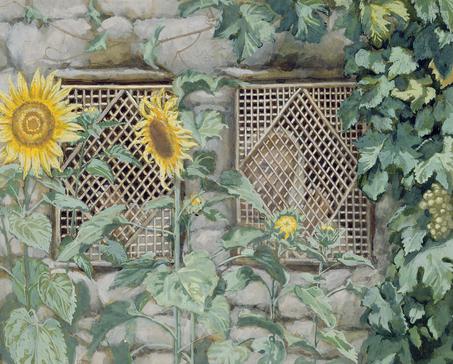 Jesus Looking Through A Lattice With Sunflowers Painting