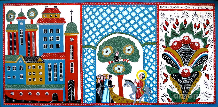 Swedish Folk Art Painting - Jesus Meets Zackeus When Entering Jerusalem by Leif Sodergren