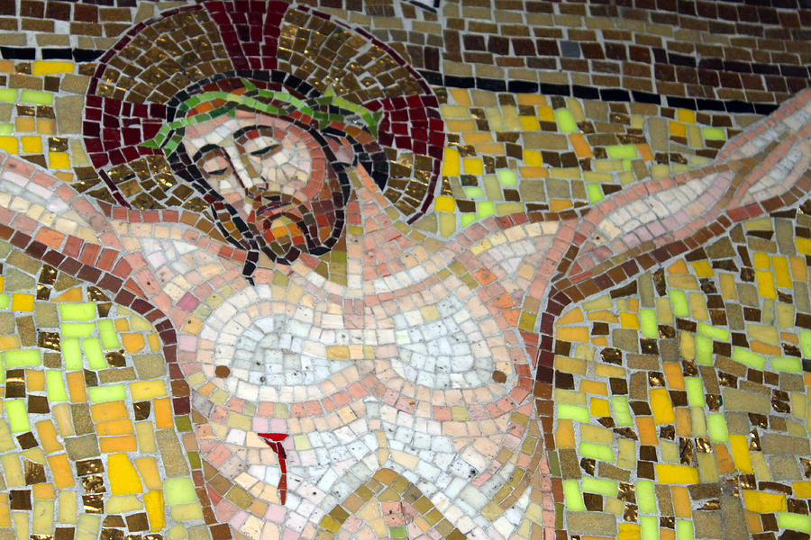 Mosaic Photograph - Jesus On The Cross Mosaic by Munir Alawi