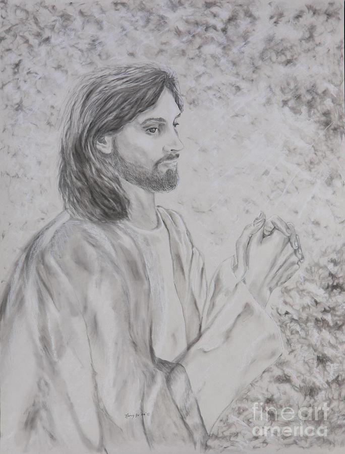Jesus Praying Drawing By Nancy Whaley-Chandler