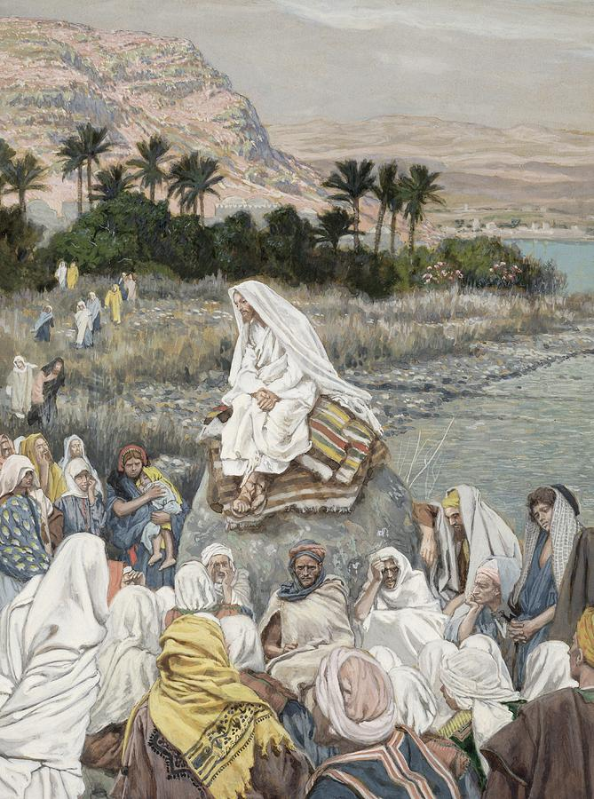 Jesus Preaching By The Seashore Painting