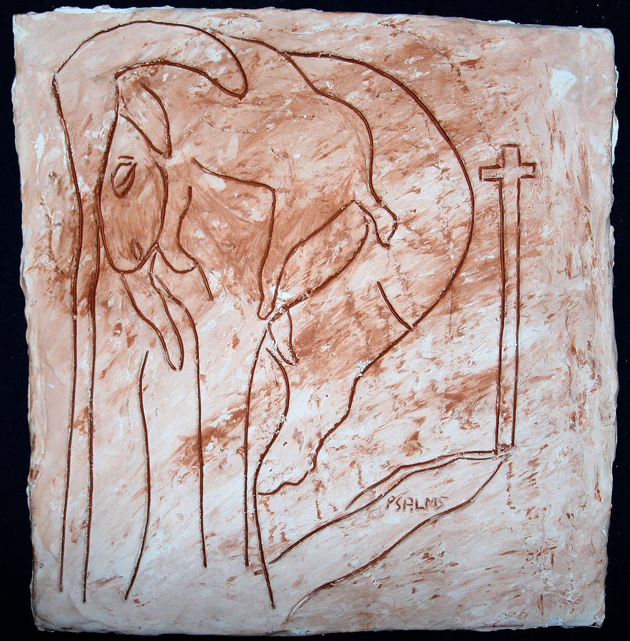 Jesus The Good Shepherd - Tile Painting  - Jesus The Good Shepherd - Tile Fine Art Print