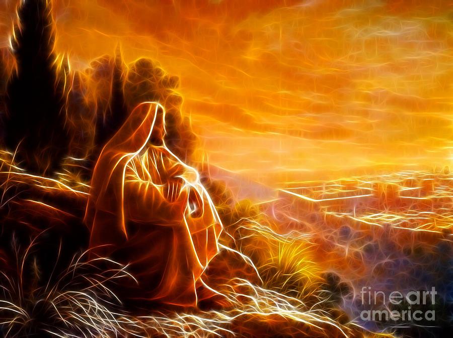Jesus Thinking Mixed Media - Jesus Thinking About People by Pamela Johnson