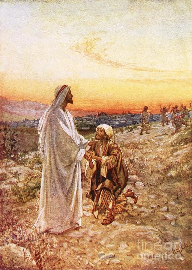 Jesus Withe The One Leper Who Returned To Give Thanks Painting  - Jesus Withe The One Leper Who Returned To Give Thanks Fine Art Print