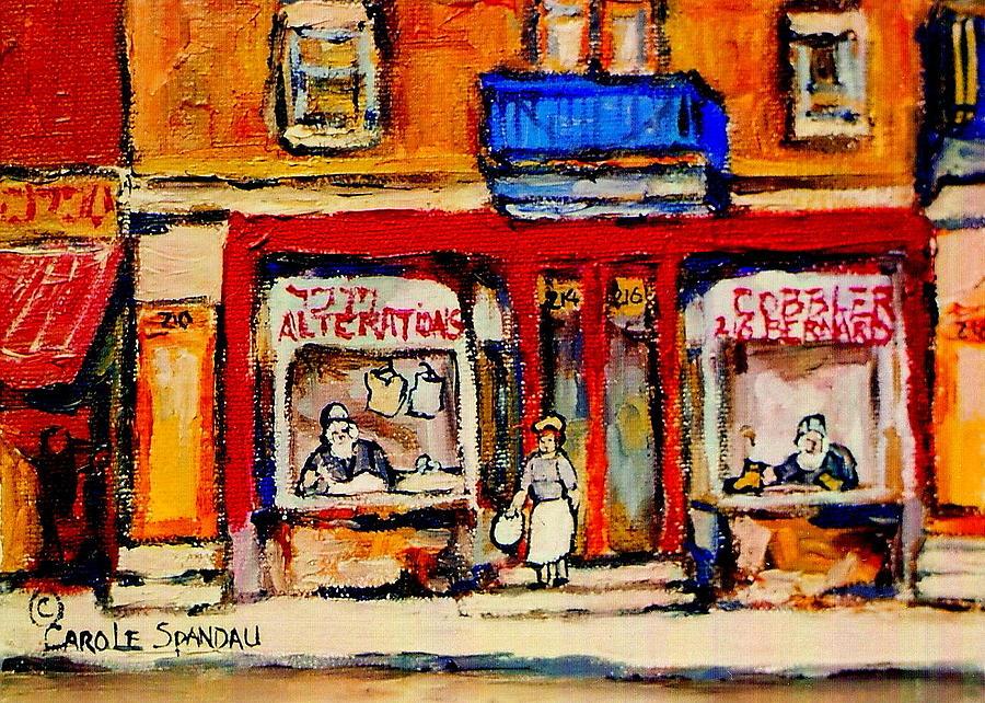 Jewish Montreal Art Painting - Jewish Montreal Vintage City Scenes De Bullion Street Cobbler by Carole Spandau