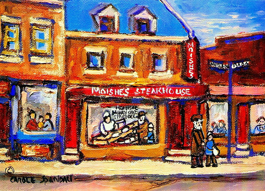 Jewish Montreal Vintage City Scenes Moishes St. Lawrence Street Painting