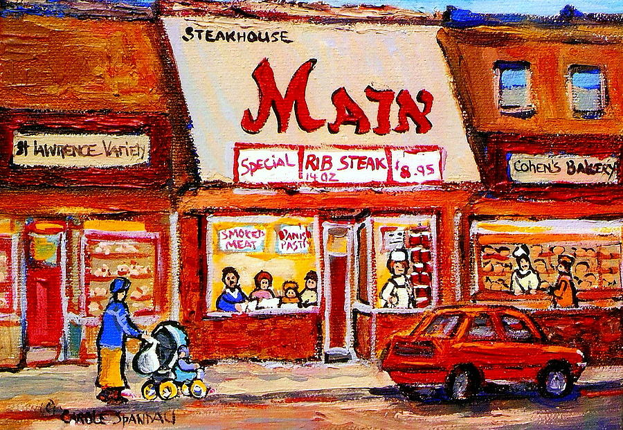 Jewish Montreal Vintage City Scenes The Main Rib Steaks On St. Lawrence Boulevard Painting  - Jewish Montreal Vintage City Scenes The Main Rib Steaks On St. Lawrence Boulevard Fine Art Print
