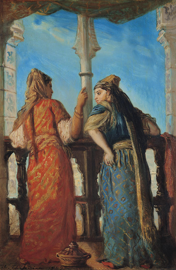 Jewish Women At The Balcony In Algiers Painting  - Jewish Women At The Balcony In Algiers Fine Art Print