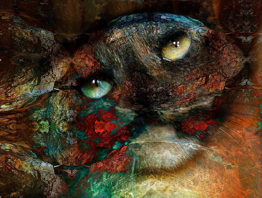 Cat Mixed Media - Jezebel by Janet Kearns