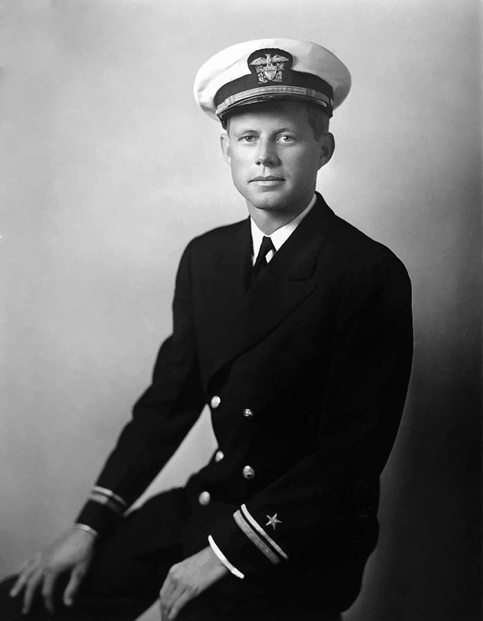 Jfk Wearing His Navy Uniform  Painting  - Jfk Wearing His Navy Uniform  Fine Art Print