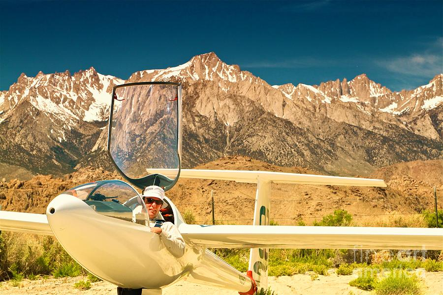 Jim Archer And Kestrel Sailplane Lone Pine California Photograph  - Jim Archer And Kestrel Sailplane Lone Pine California Fine Art Print