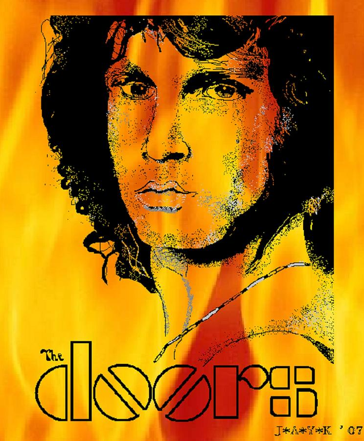 Jim Morrison On Fire Drawing  - Jim Morrison On Fire Fine Art Print