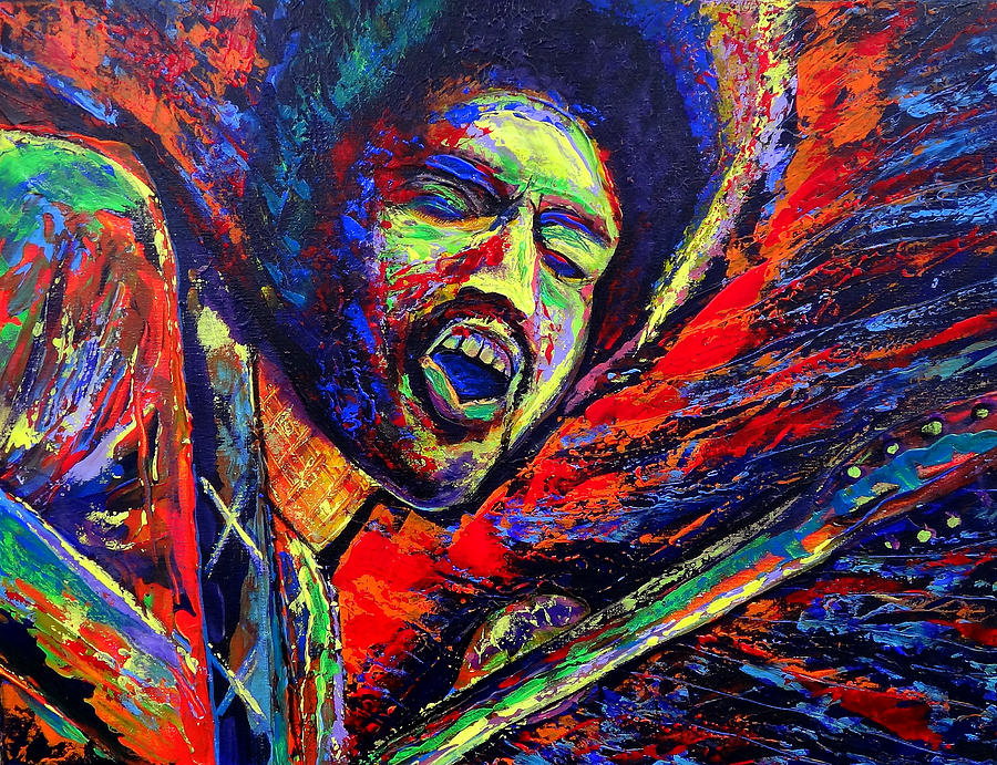 Jimi And The Blue Flames Painting  - Jimi And The Blue Flames Fine Art Print