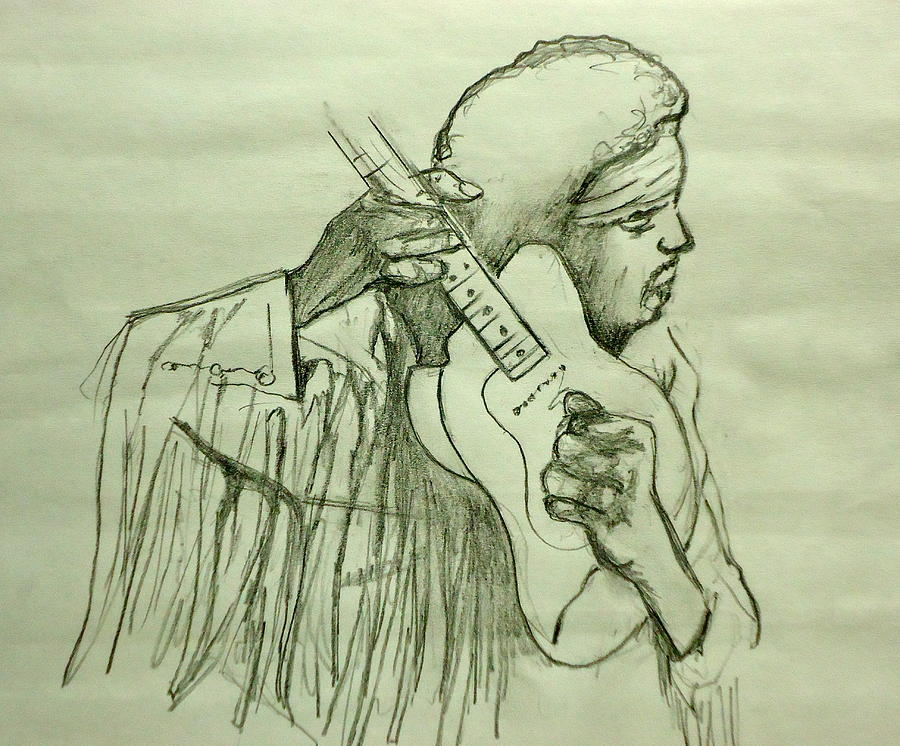 Jimi Sketch Drawing  - Jimi Sketch Fine Art Print