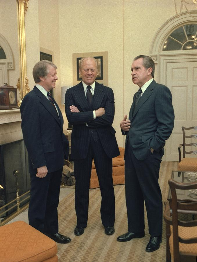 Jimmy Carter Gerald Ford And Richard Photograph  - Jimmy Carter Gerald Ford And Richard Fine Art Print