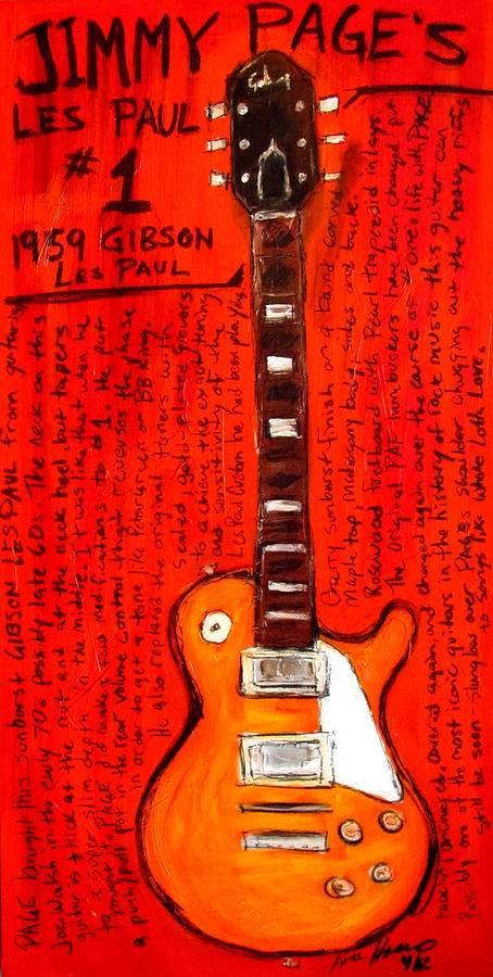 Jimmy Pages Les Paul Number1 Painting  - Jimmy Pages Les Paul Number1 Fine Art Print