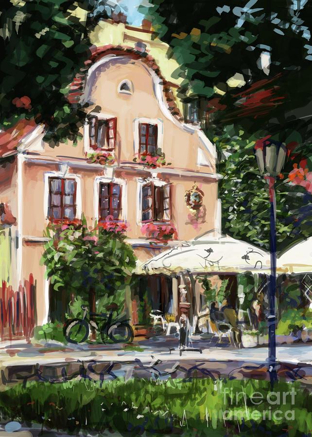 Jindrichuv Painting - Jindrichuv Hradec Restaurant by Ondrej Soukup