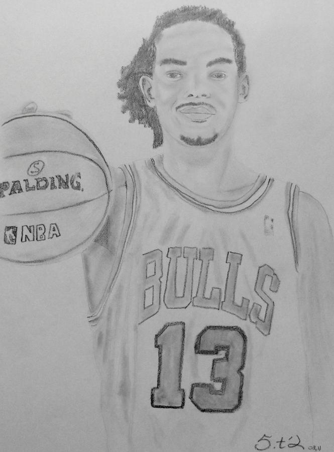 Joakim Noah Drawing - Joakim Noah by Estelle BRETON-MAYA