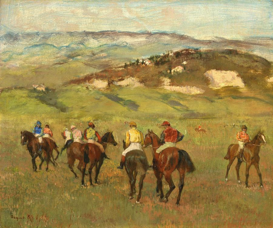 Jockeys On Horseback Before Distant Hills Painting  - Jockeys On Horseback Before Distant Hills Fine Art Print