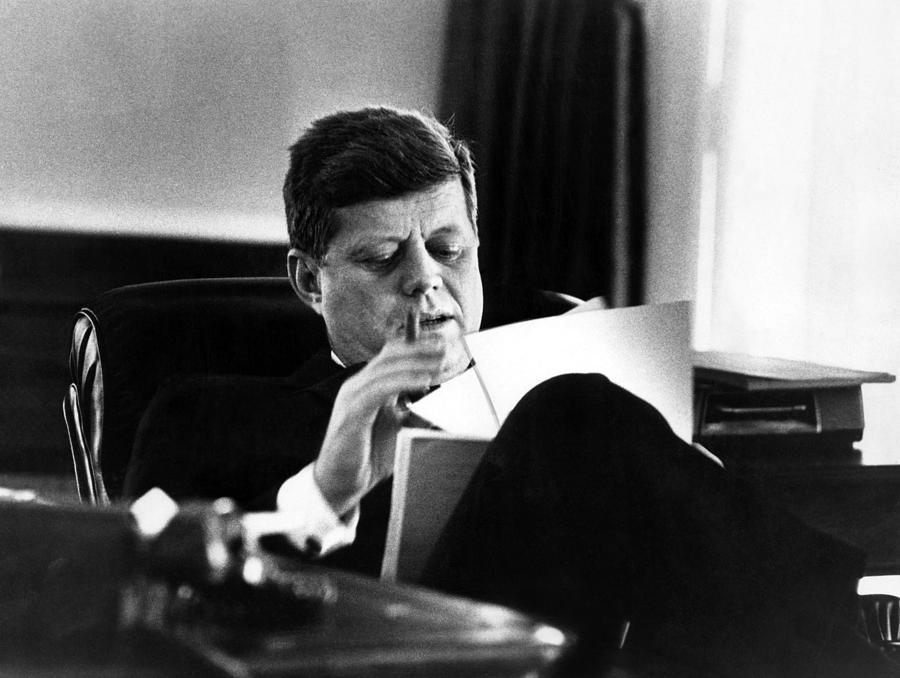 John F. Kennedy, In His Office Photograph