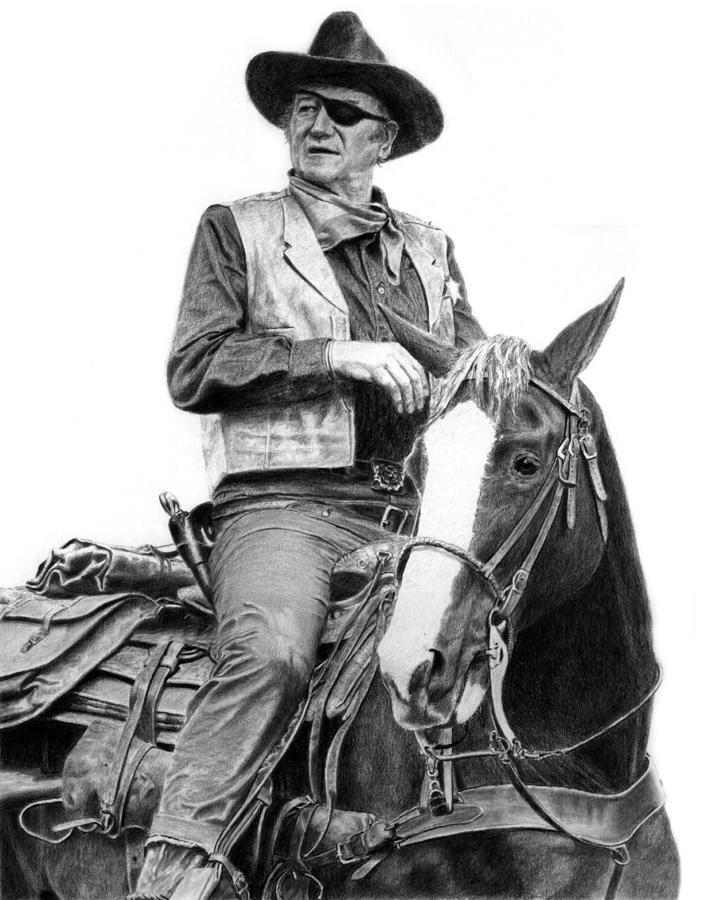 John Wayne As Rooster Cogburn Drawing