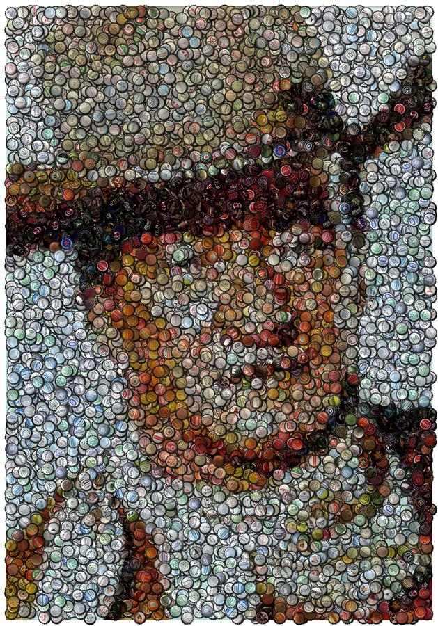John Wayne Bottle Cap Mosaic Digital Art  - John Wayne Bottle Cap Mosaic Fine Art Print