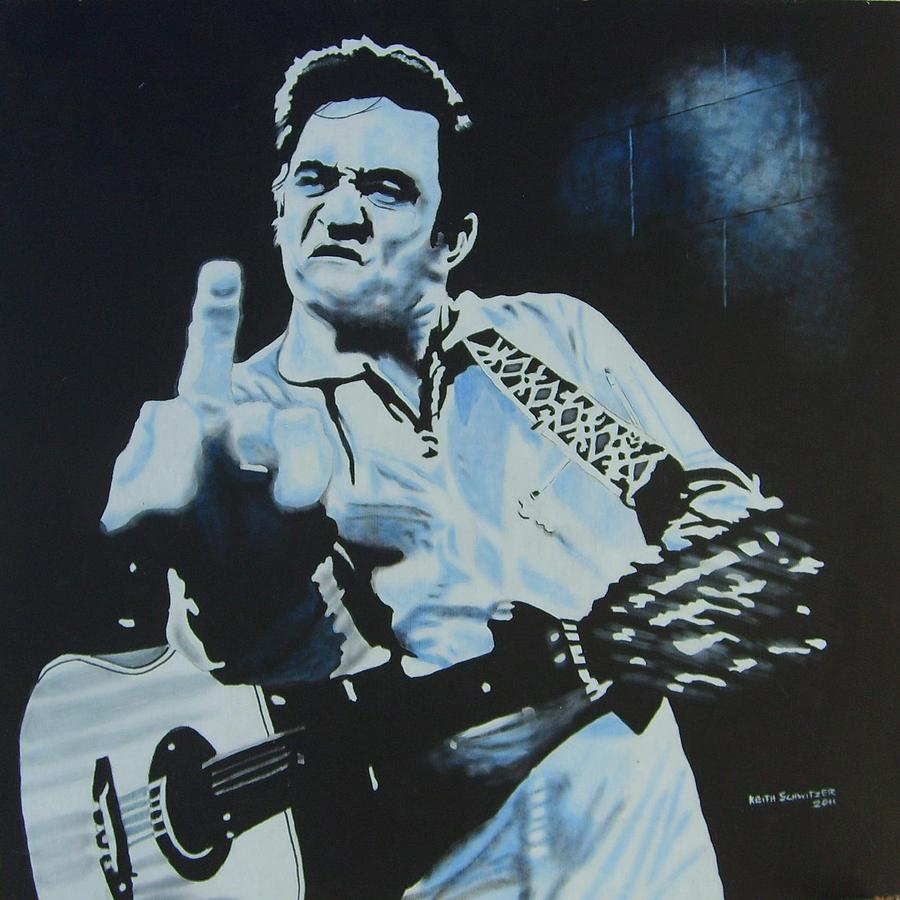 Johnny Cash Black Painting  - Johnny Cash Black Fine Art Print