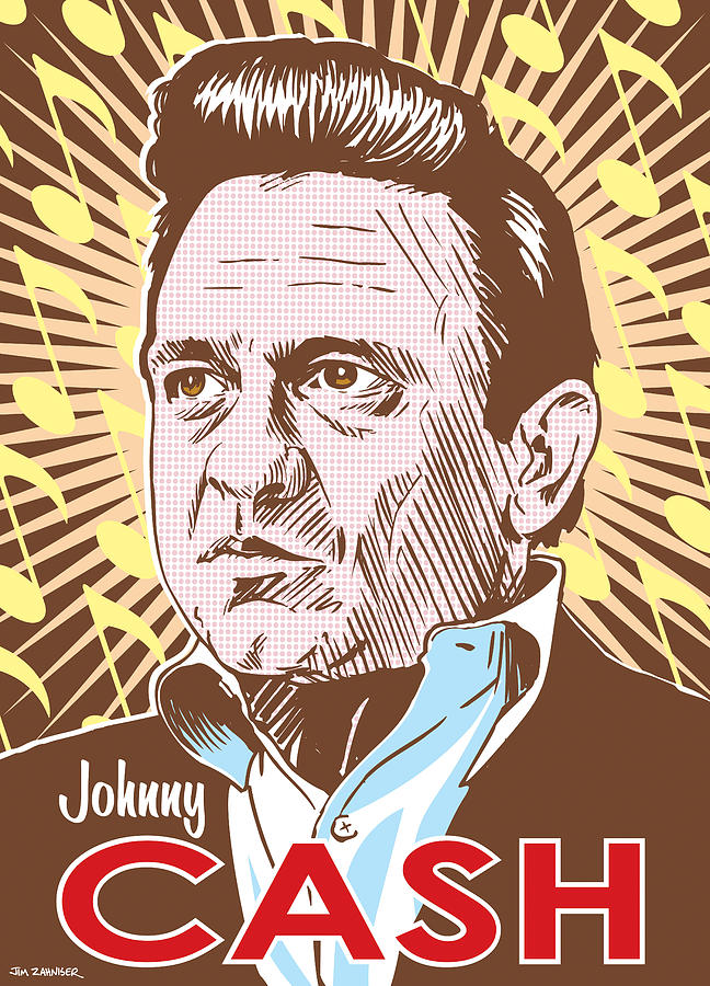 Johnny Cash Pop Art Drawing  - Johnny Cash Pop Art Fine Art Print