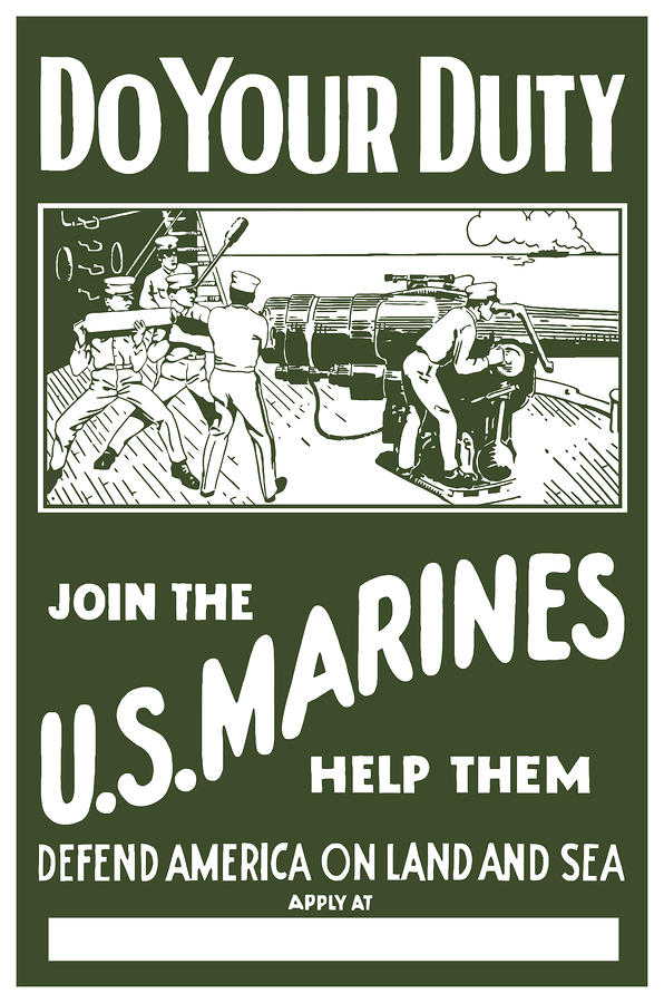 Join The Us Marines Painting  - Join The Us Marines Fine Art Print