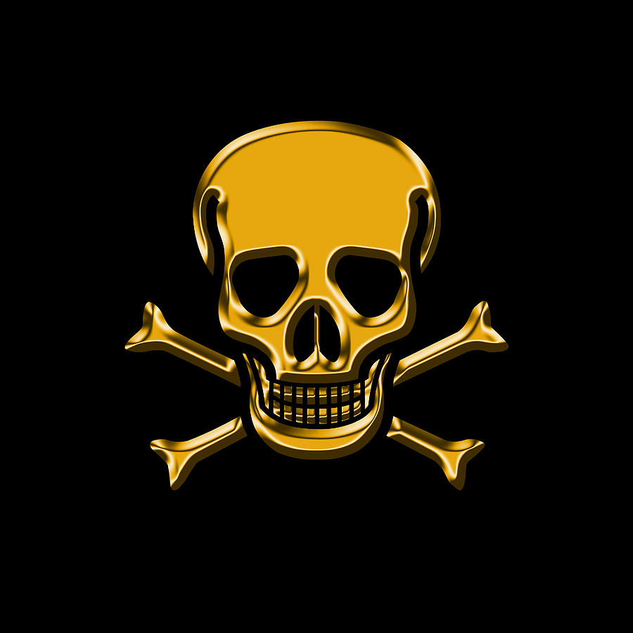 Jolly Roger Gold Digital Art by Andrew Fare