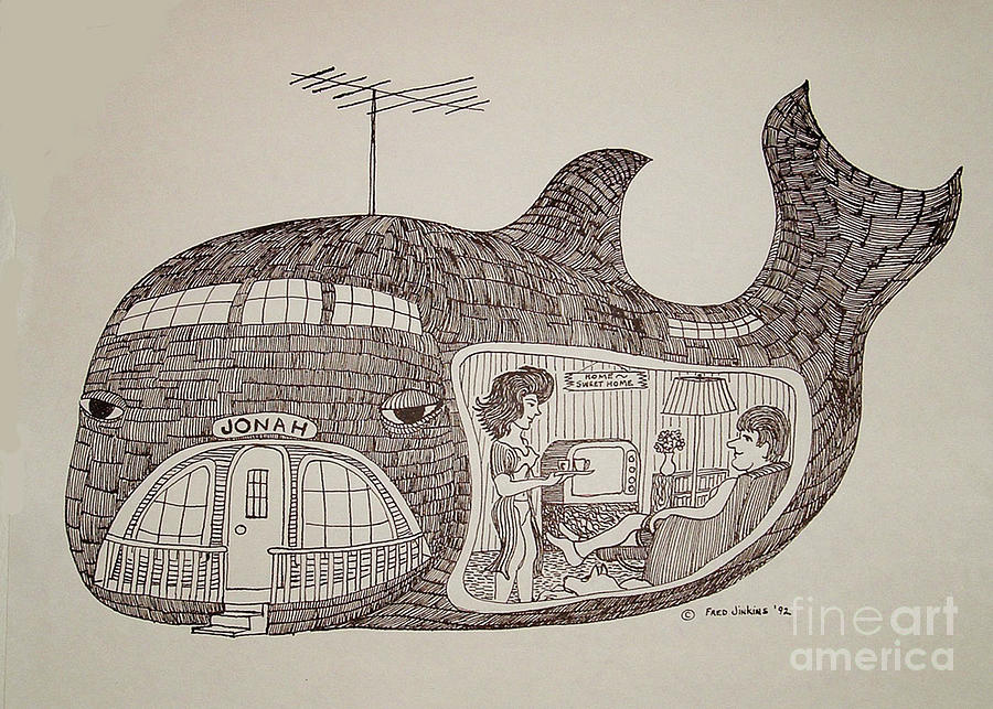 Jonah In His Whale Home. Drawing  - Jonah In His Whale Home. Fine Art Print