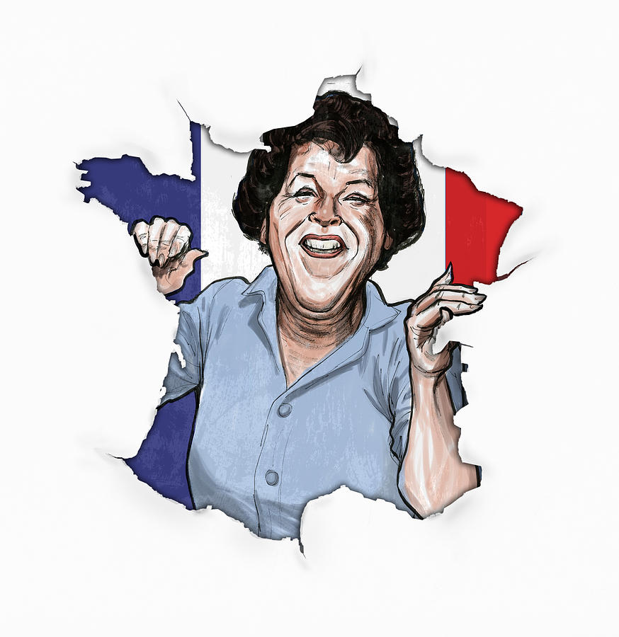 Julia Child Breaks Through Drawing  - Julia Child Breaks Through Fine Art Print