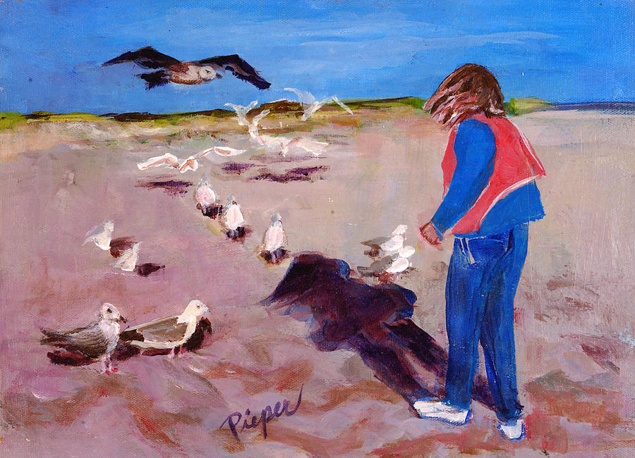Young Woman On The Beach With Gulls Painting - Julie On The Cape by Elzbieta Zemaitis