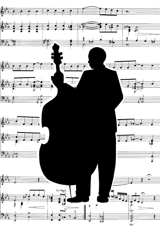 Just Jazz - Double Bass Painting  - Just Jazz - Double Bass Fine Art Print