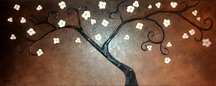 Tree Painting - Just Thirty Two Flowers by Edwin Alverio