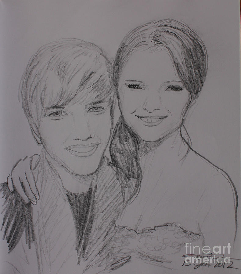 Justin And Selena Drawing  - Justin And Selena Fine Art Print