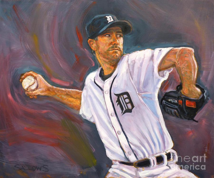Justin Verlander Painting - Justin Verlander Throws A Curve by Nora Sallows