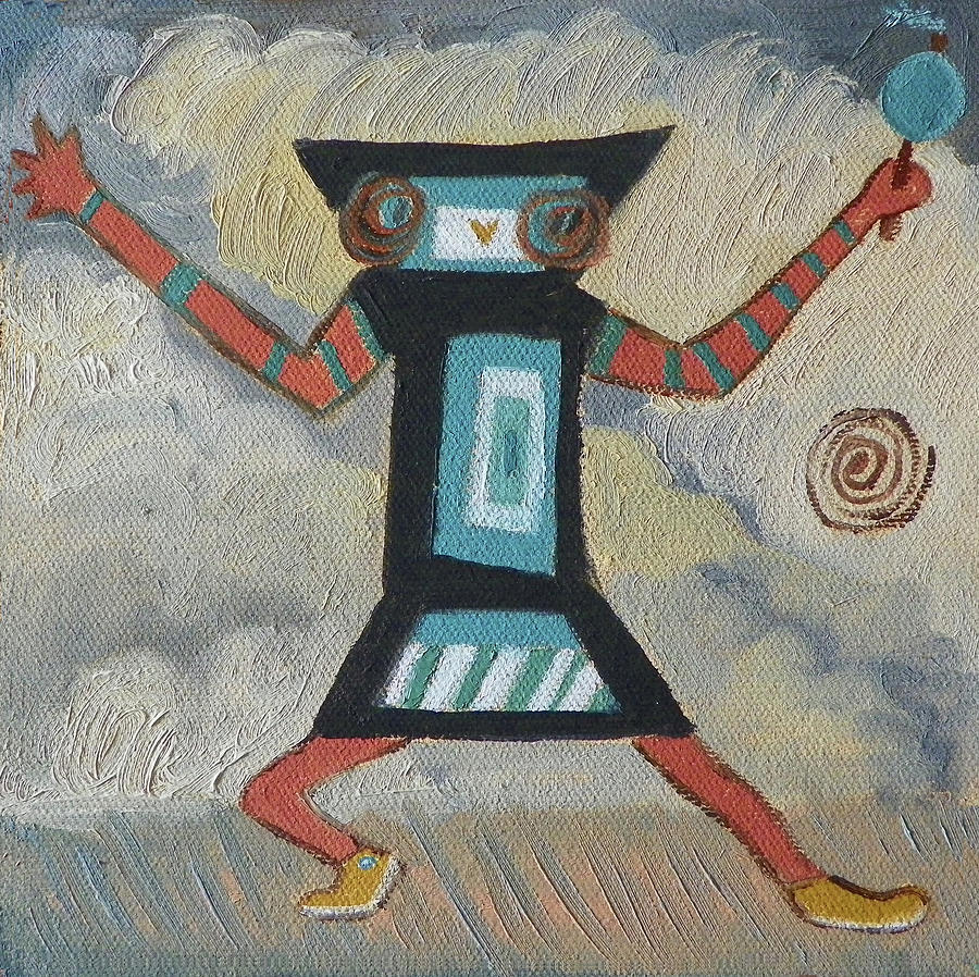 Native American Painting - K Is For Kachina Detail From Childhood Quilt Painting by Dawn Senior-Trask