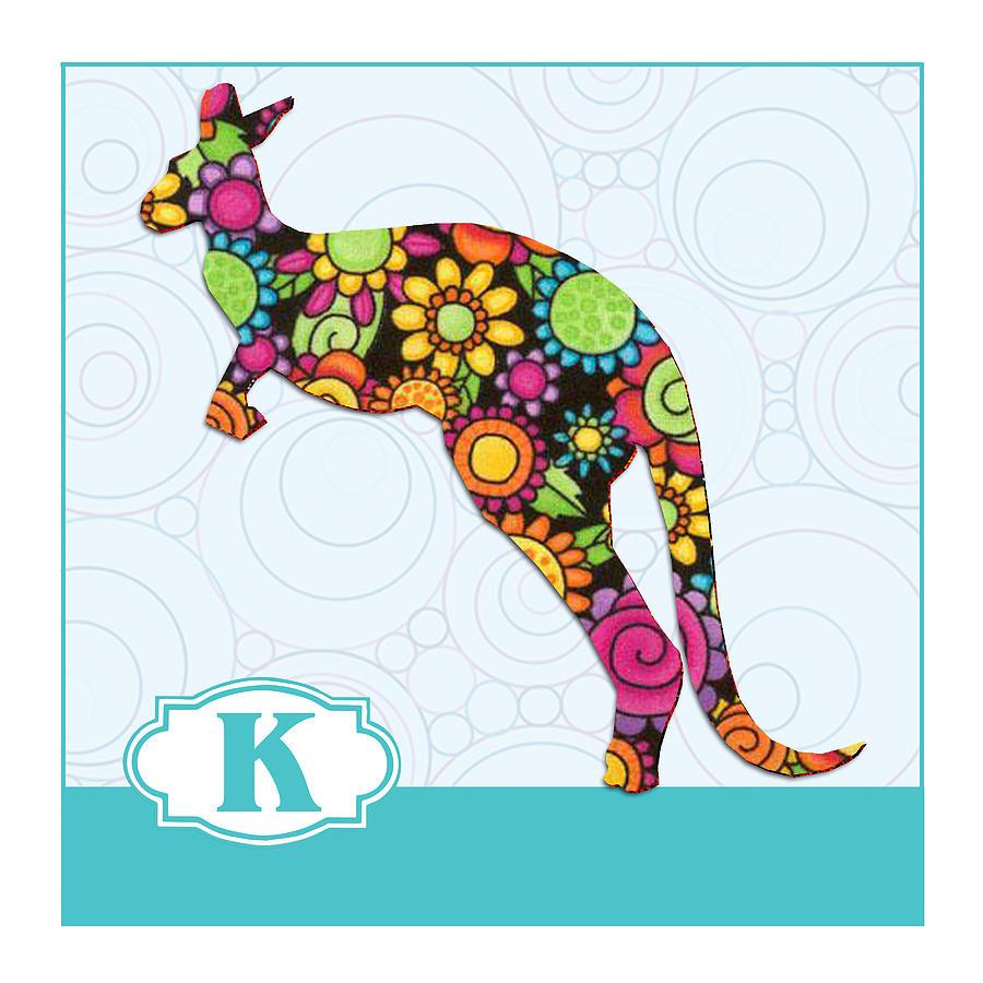 K Is For Kangaroo Painting By Elaine Plesser