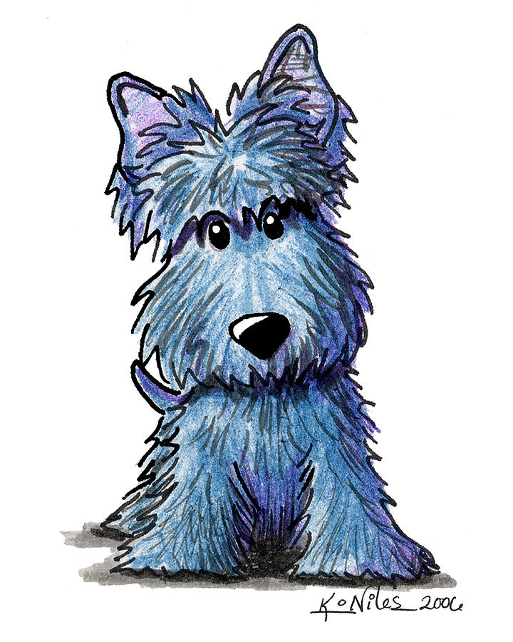 K9 Keanu Scottie Terrier Drawing  - K9 Keanu Scottie Terrier Fine Art Print