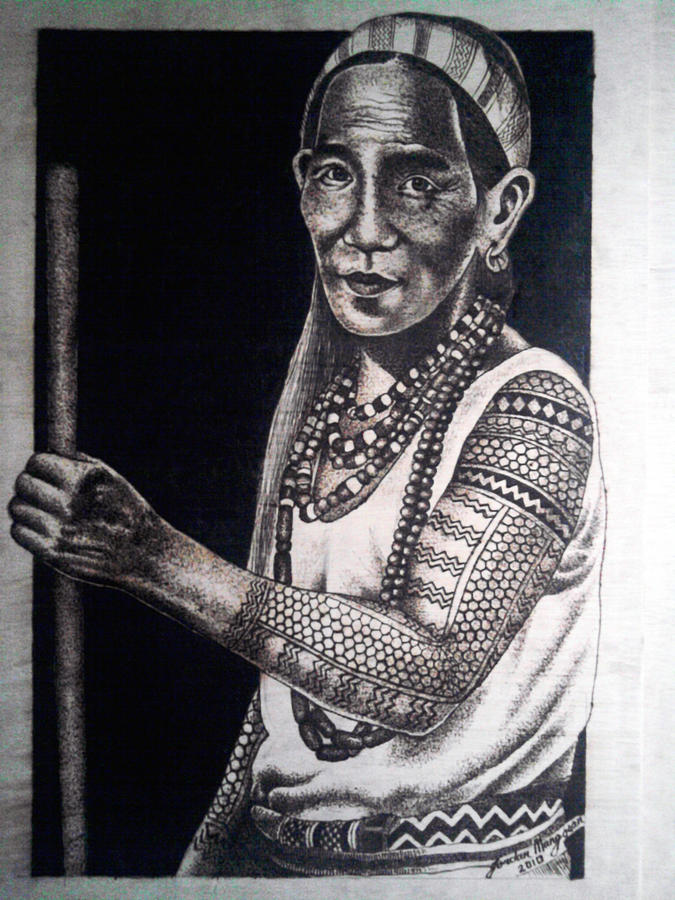 Kalinga Woman Pyrography