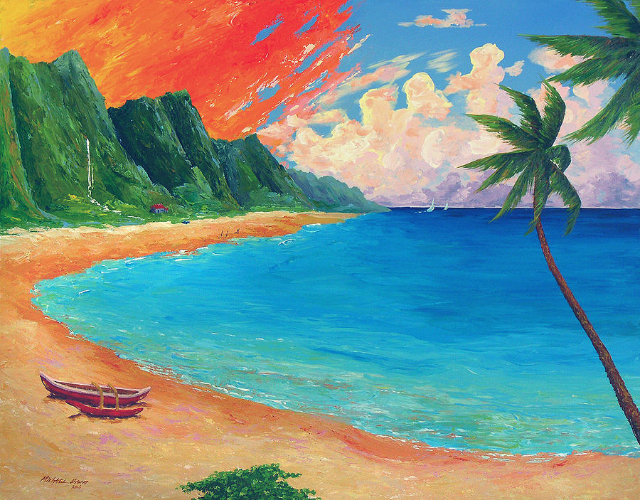 Kauai Beach Sunset is a painting by Michael Baum which was uploaded on ...
