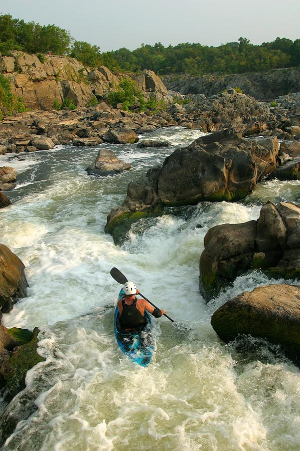 Kayaker Running Waterfalls At Great Photograph  - Kayaker Running Waterfalls At Great Fine Art Print