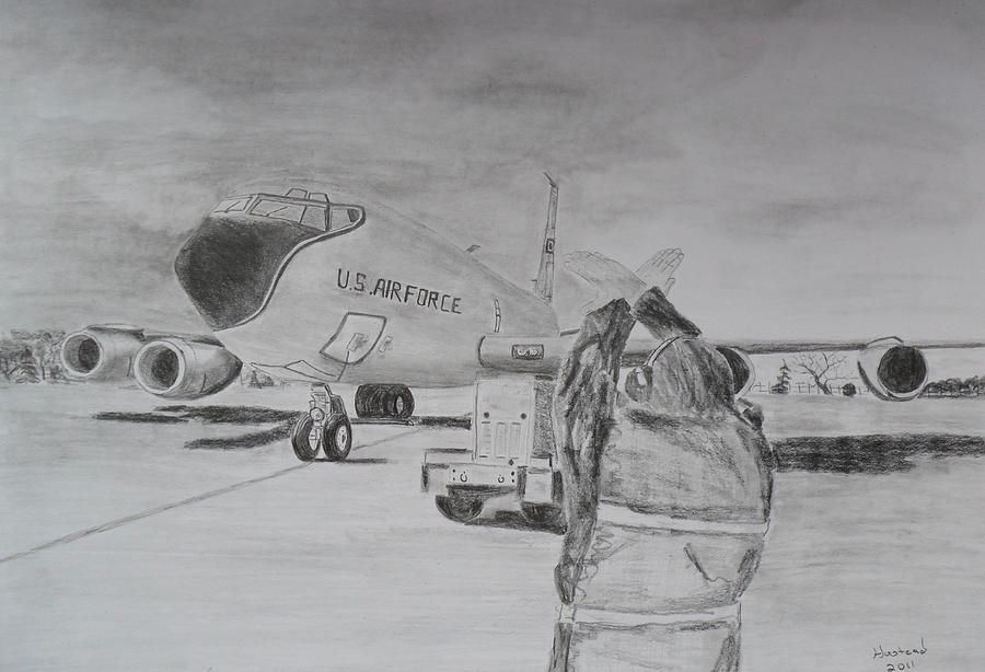 Military Art Drawing - Kc-135 Study by Brian Hustead