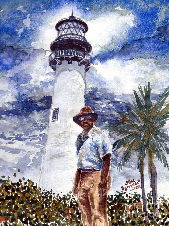 Keeper Of The Cape Florida Lighthouse Painting