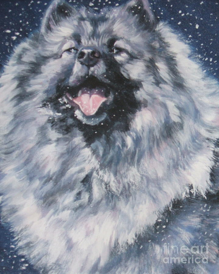 Keeshond In Snow Painting  - Keeshond In Snow Fine Art Print